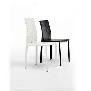 Agata woven low, Stuhl aus lackiertem Stahl mit Leder überzogen, für Wohnzimmer