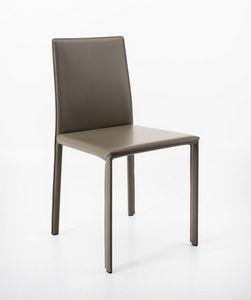 Aida, Stuhl aus regeneriertem Leder, linear und eklektisch