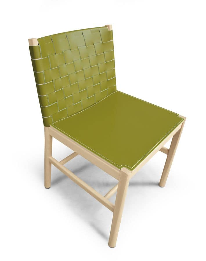 Eleganter Stuhl Aus Holz Und Leder Idfdesign
