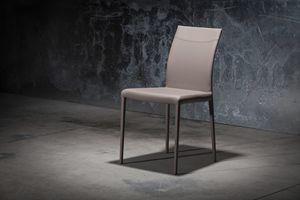 ART. 252/1 SOFT MISS, Stuhl aus Leder mit Metallstruktur bedeckt