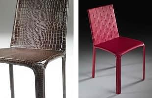 Cloe, Chair komplett in Leder bezogen, für zu Hause
