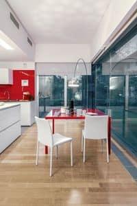 DALILA, Esszimmerstuhl aus Metall und Leder, einfach, Wohnzimmer