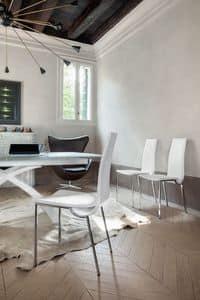 DEIRA, Moderne Esszimmerstuhl abgedeckt mit nicht abnehmbaren Leder