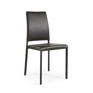 Emi, Stapelbarer Stuhl komplett mit Leder bezogen