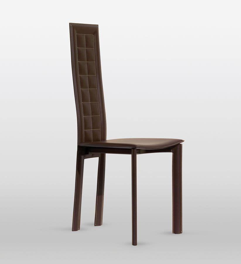 lederstuhl hat r ckenlehne karierten n hen f r esszimmer. Black Bedroom Furniture Sets. Home Design Ideas