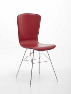 Vichy, Verchromter Stahlstuhl mit gepolstertem Sitz aus Leder