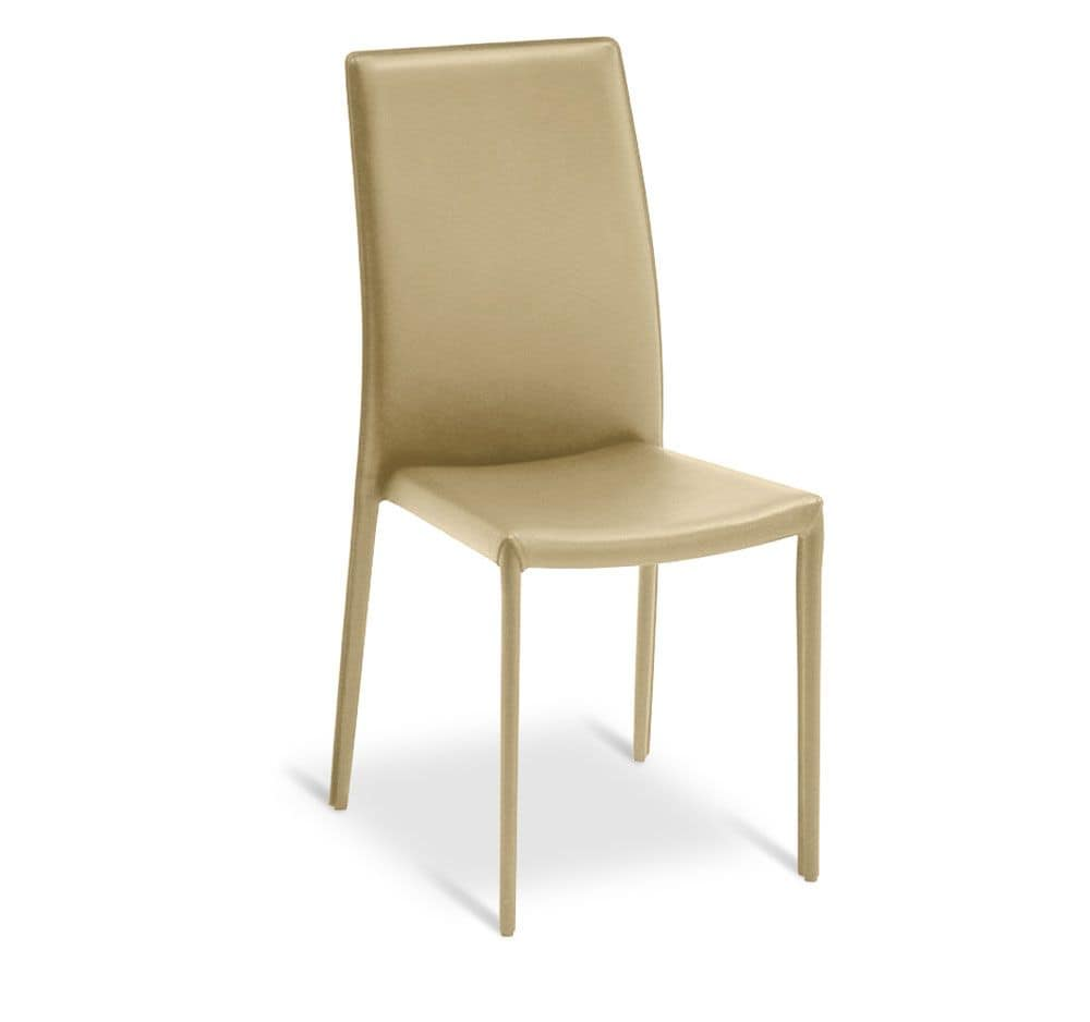 Metallstuhl stapelbar ganz in kunstleder berzogen - Lederstuhl beige ...