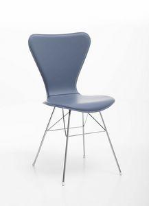 Wendy, Stuhl mit Stahlbasis und Schale aus regeneriertem Leder