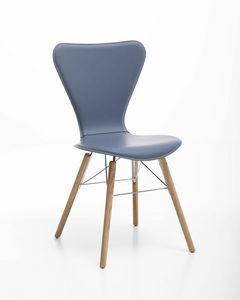 Wendy wood, Stuhl aus Leder, Stahl und Holz, für den Heimgebrauch