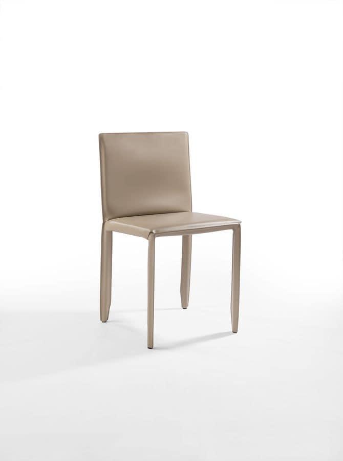 Stuhl aus Stahl und Leder, für Bar und Küche | IDFdesign