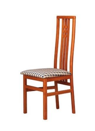 301, Stuhl mit Stoff Sitz, hohe Rückenlehne mit vertikalen Lamellen