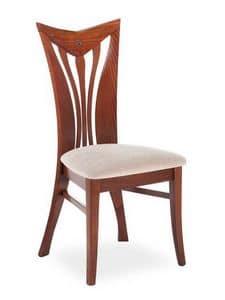 Button ST, Eleganter Stuhl mit Rückenlehne mit gebogenen senkrechten Lamellen