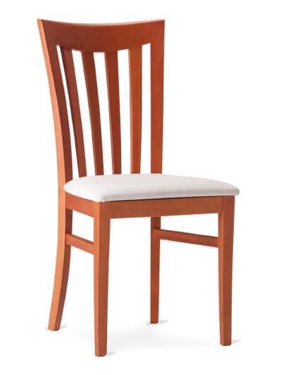 DEMETRA, Holzstuhl mit Rückenlehne mit vertikalen Lamellen