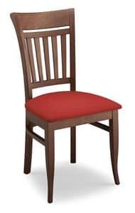 Gloria ST, Stuhl aus Buche, Rückenlehne mit vertikalen Lamellen