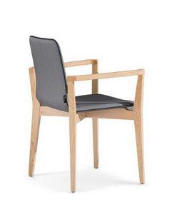 1123, Stuhl mit Armlehnen aus Holz, gepolstert