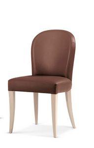 119, Gepolsterter Stuhl aus Holz, mit abgerundeter Rückenlehne