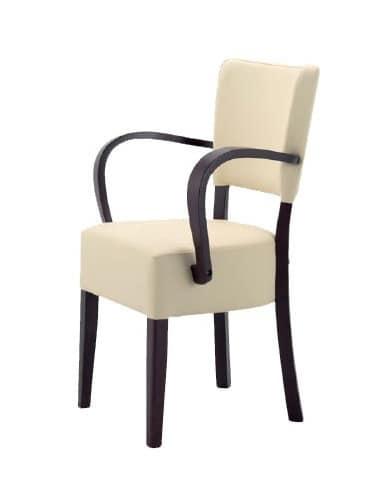 302, Holzstuhl mit gepolstertem Sitz und Rückenlehne