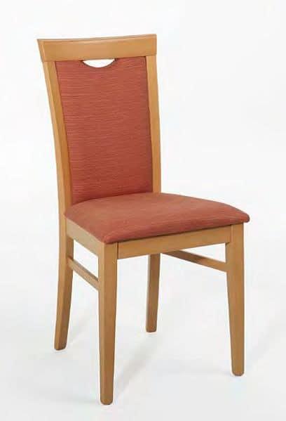 Anna, Stuhl mit Holzrahmen, gepolstert, mit Griff