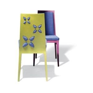 D03, Stuhl aus Massivholz mit originellen Dekorationen auf dem Rücken