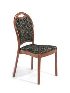Desiree S, Gepolsterter Stuhl aus Holz mit gebogenen Rückenlehne