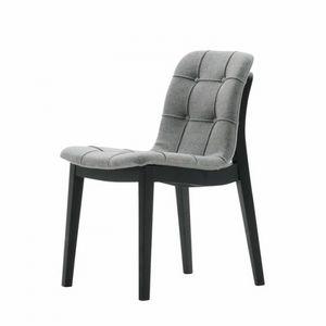 Light 03211K, Moderner Stuhl aus Massivholz, mit gesteppter Schale