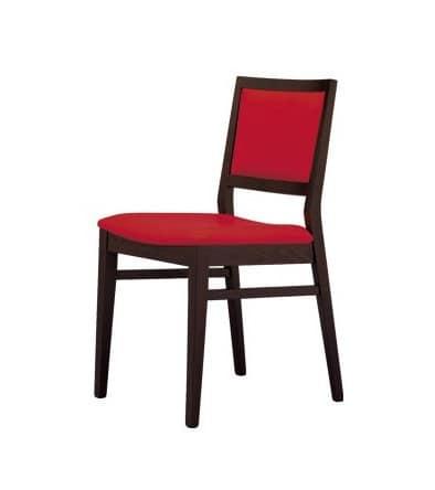 M05, Stuhl mit gepolstertem Sitz und Rücken mit Stoff überzogen