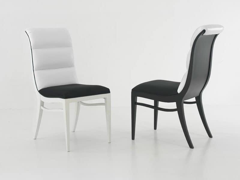 MELANIE chair 8362S, Polsterstuhl ohne Armlehnen, mit geschwungenen Rückenlehne