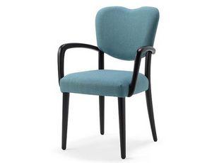 Mia-P1, Gepolsterter Stuhl aus Holz, mit Armlehnen ausgestattet