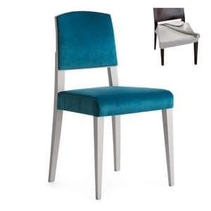Piper 00814, Stuhl aus Massivholz, gepolsterter Sitz und Rücken, Stoffbezug, moderner Stil