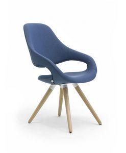 Samba Plus 4G Holz, Moderner Stuhl mit 4 verjüngten Holzbeinen