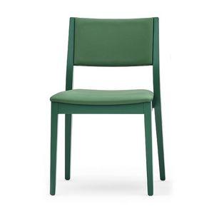 Sintesi 01512, Stuhl aus Massivholz, Rücken gepolstert und Sitz, moderner Stil
