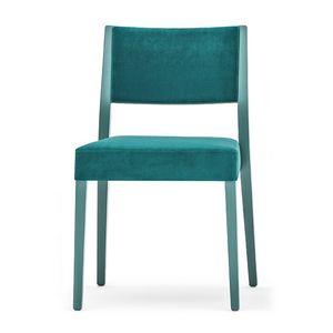 Sintesi 01514, Stuhl aus Massivholz, Rücken gepolstert und Sitz, moderner Stil