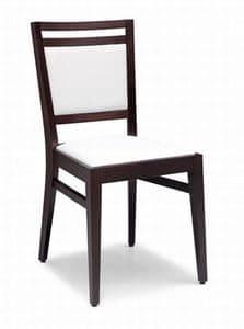 Solange, Holzstuhl mit gepolstertem Sitz und Rücken