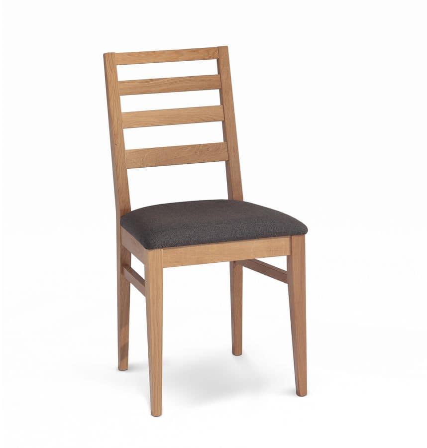 Giada 5, Polsterstuhl mit Rückenlehne mit horizontalen Lamellen aus Holz