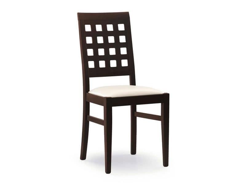 Sara, Stuhl mit gepolstertem Sitz, Rücken mit quadratischen Löchern