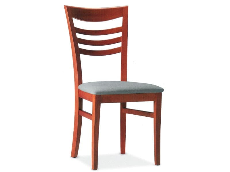 SVEVA, Holzstuhl mit gepolstertem Sitz, für den Objektbereich