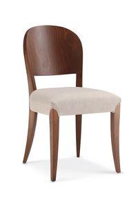114, Stuhl mit furnierter Rückenlehne und gepolstertem Sitz