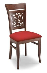 Gloria PANT, Gepolsterter Stuhl mit gelochten Holzrücken