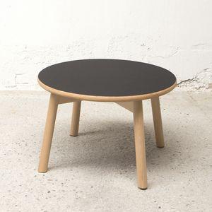 Runder kleiner Tisch diam.50 cm, Outlet Couchtisch aus Holz, mit runder Platte