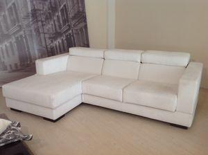 Relax, Verstellbares Ecksofa mit abnehmbarem weißem Stoff
