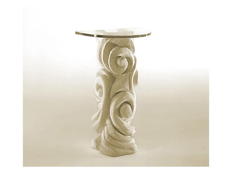 Apamea, Tisch mit Steinsäule und Glasplatte