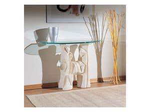 Magellano, Tisch mit Steinsockel für Wohnräume, moderner Stil