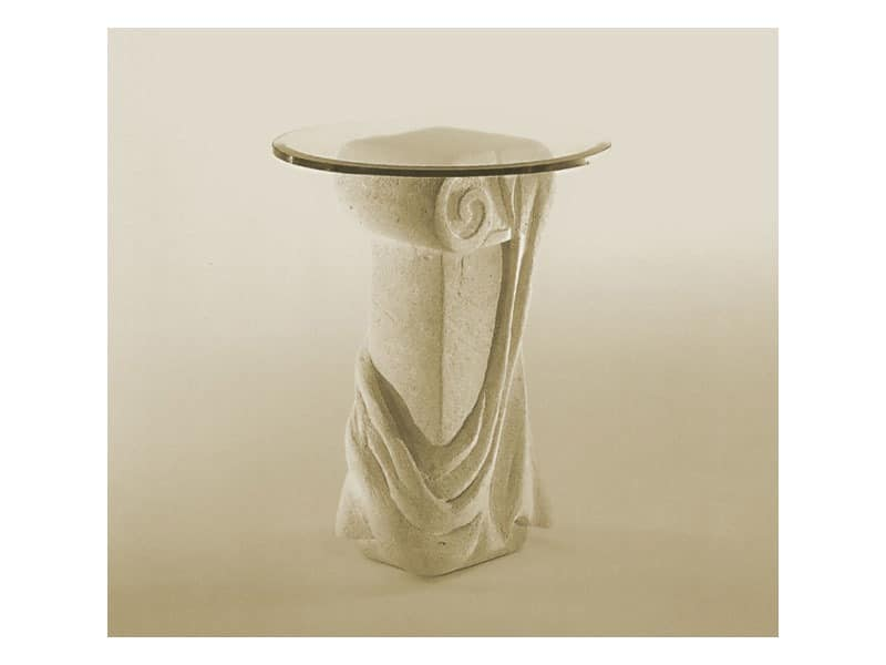 Saffo, Tisch mit Platte aus Glas und Steinsäule
