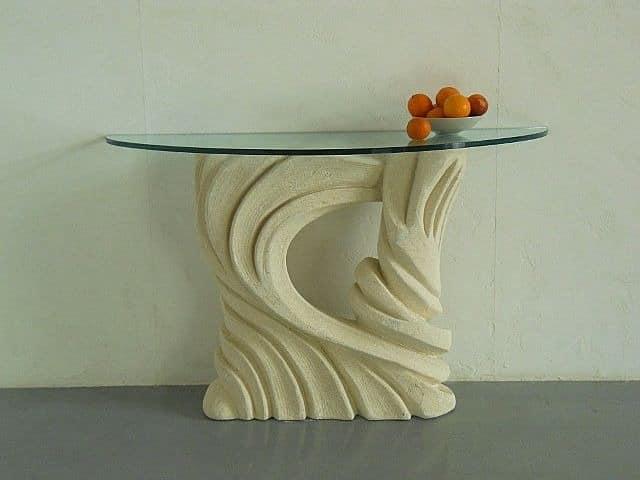 Santaclara, Tisch mit geschnitzten Sockel, Glasplatte, für Restaurants