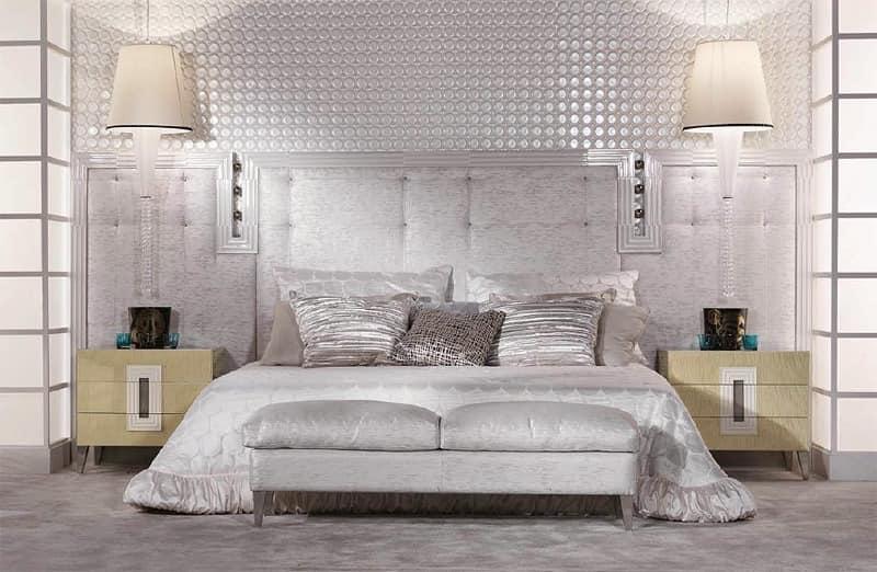 bett mit gepolstertem kopfteil aus leder mit einer. Black Bedroom Furniture Sets. Home Design Ideas
