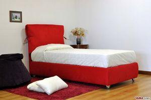 Azzurra, Modernes Bett mit vollständig abnehmbarem, weichem Kopfteil