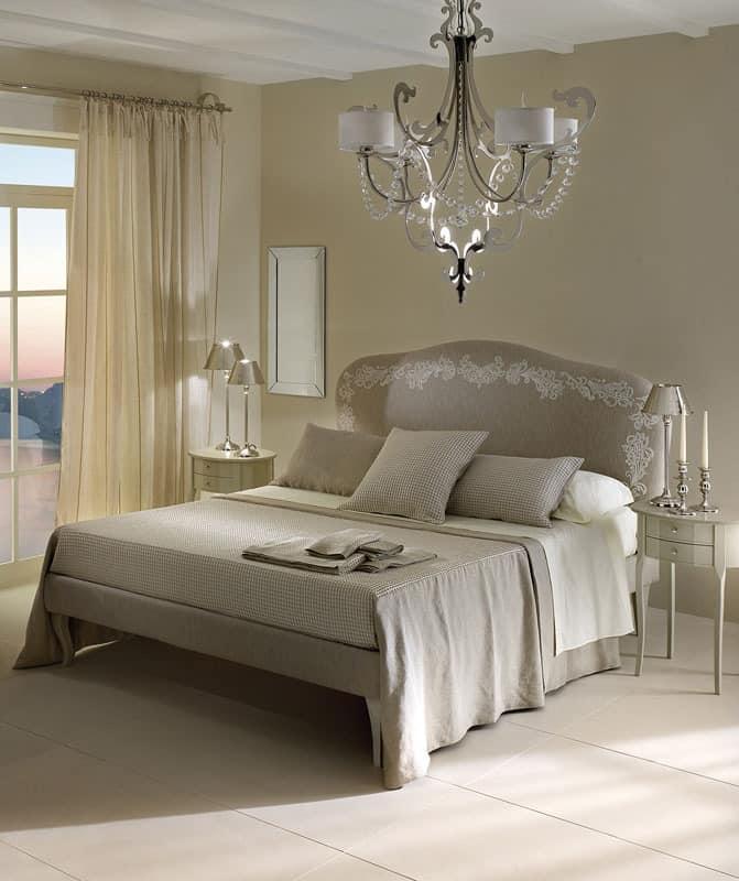 doppelbett mit gepolstertem und abnehmbarem kopfteil. Black Bedroom Furniture Sets. Home Design Ideas