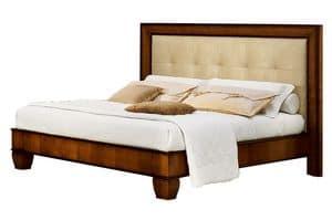 Cappella CH.0501, Walnut Bett aus Holz, mit Kopfteil in Öko-Leder