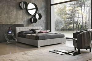 CHAMONIX BD427, Moderne Bett mit gepolstertem Kopfteil, Soft-Touch