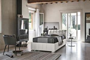 CHAMONIX SB427, Einzelbett in Soft-Touch-gepolstert, mit Kopf